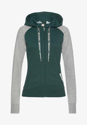 Zip-up hoodie - dunkelgrün-hellgrau