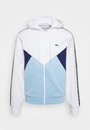 Sweat à capuche zippé - blanc/bleu