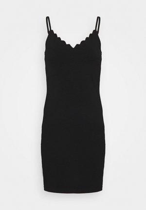 Scallop edge mini strap dress - Vestido de tubo - black