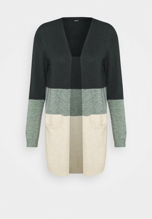 ONLQUEEN LONG CARDIGAN - Kardigan - june bug/balsam green mel/oatmeal m