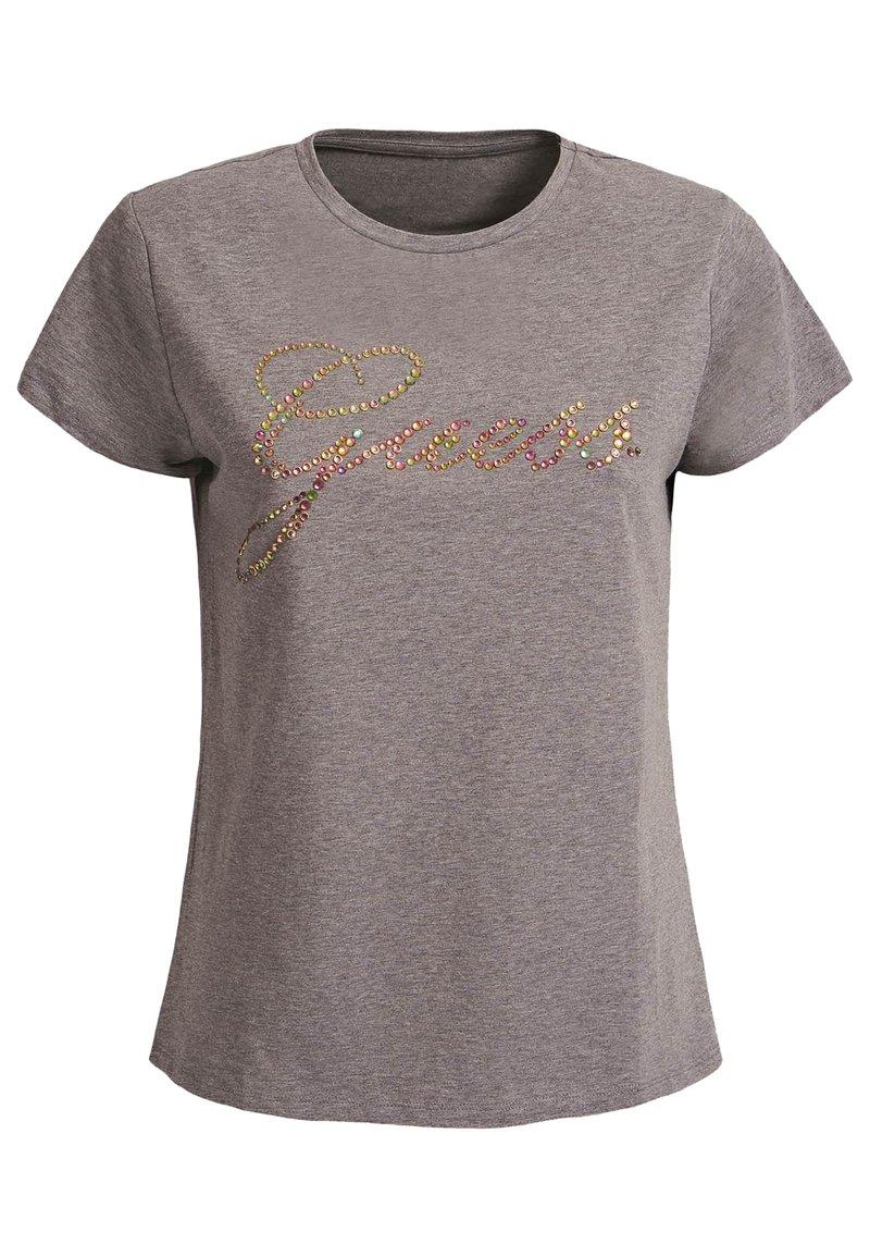 Guess - GUESS T-SHIRT LOGO APPLIKATIONEN - Print T-shirt - hellgrau