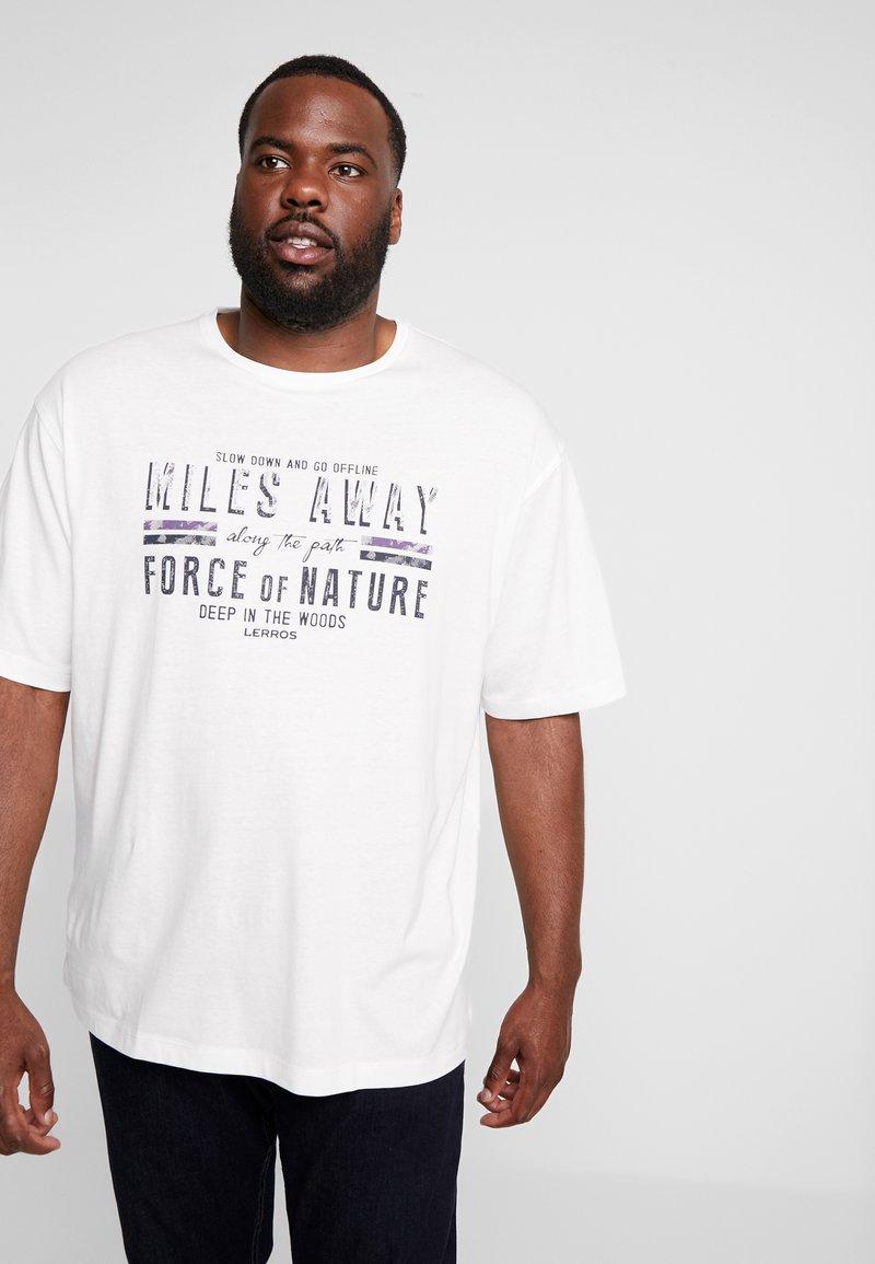 LERROS - O-NECK - Print T-shirt - broken white