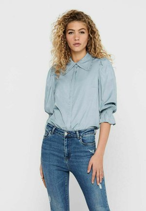 Button-down blouse - faded denim