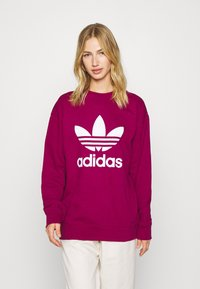 adidas Originals - CREW ADICOLOR - Sweatshirt - power berry/white - 0