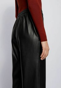 BOSS - TAOMIE - Leather trousers - black - 3