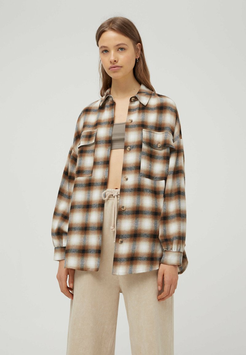 PULL&BEAR - Button-down blouse - mottled brown