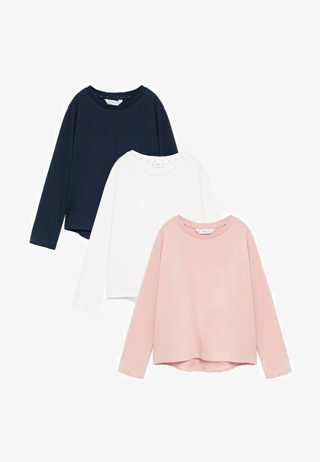 3 PACK - T-shirt à manches longues - gebroken wit