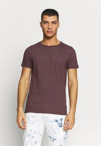 Replay - CREW TEE 3 PACK - Basic T-shirt - black/ grey melange/ bordeaux melange - 5
