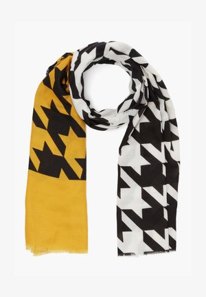MIT HAHNENTRITT-MUSTER - Scarf - yellow placed print