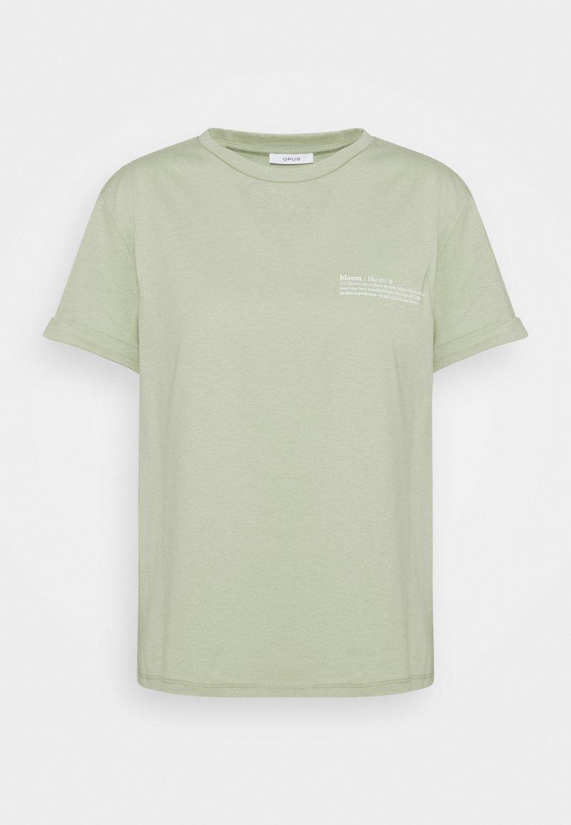 Opus - SERZ BLOOM - T-shirt z nadrukiem - pistachio