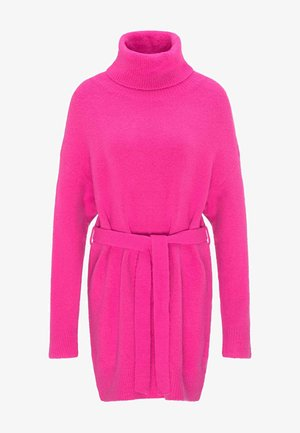 Pletené šaty - neon pink