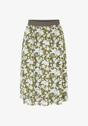 MIT FLORALEM MUSTER - A-line skirt - small khaki floral design