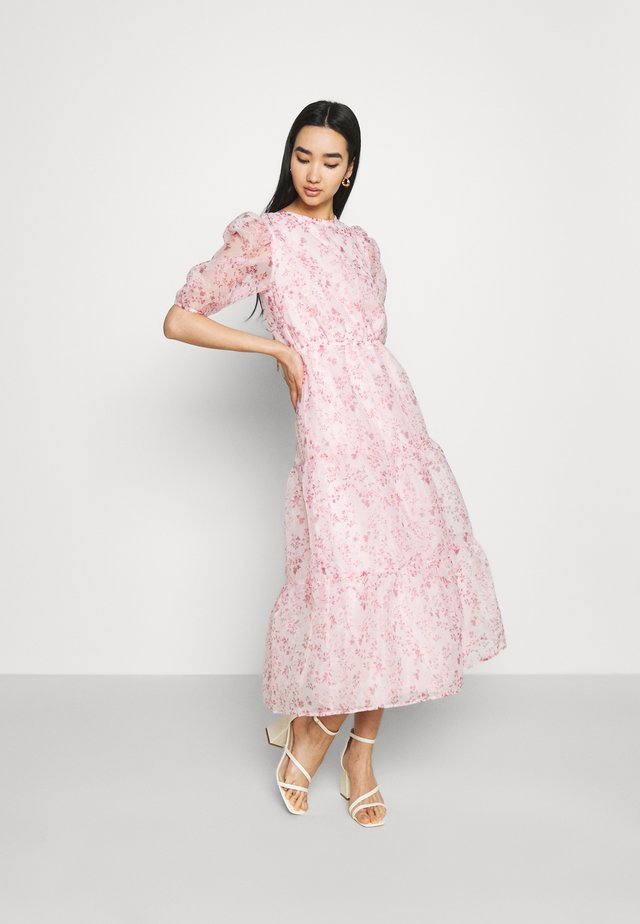 FLORAL TIE BACK SMOCK DRESS - Cocktail dress / Party dress - pink