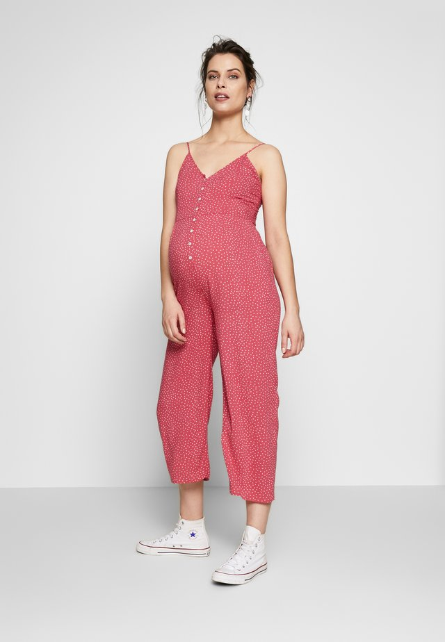 NURSING DOTTED OVERALL WITH BUTTONS - Haalari - strawberry