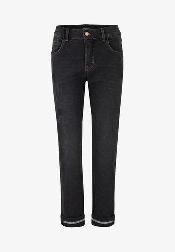 DARLEEN TU TAPE MIT SCHMUCKSTEINEN - Slim fit jeans - anthrazit