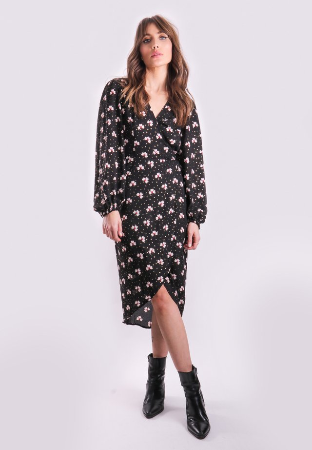 WRAP - Shift dress - black, white