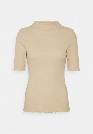 PCNUKISA MOCK NECK - Basic T-shirt - almond buff
