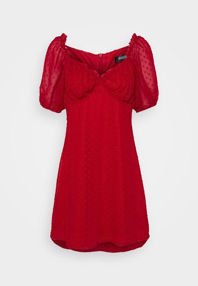 MILKMAID SKATER DRESS DOBBY - Kjole - red