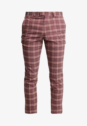 CHECK CROP - Trousers - bordeaux