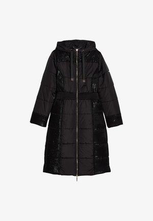 LONG HOODED - Winter coat - black