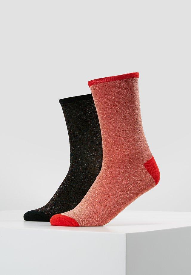 DINA SOLID GLITTER  2 PACK - Ponožky - redlove/multicolor