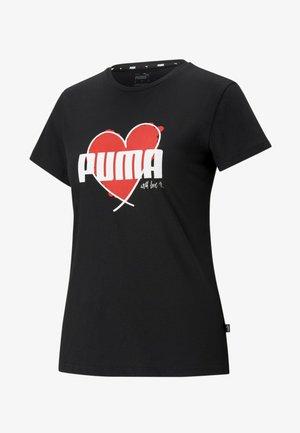 VALENTINE'S HEART  - Print T-shirt - puma black