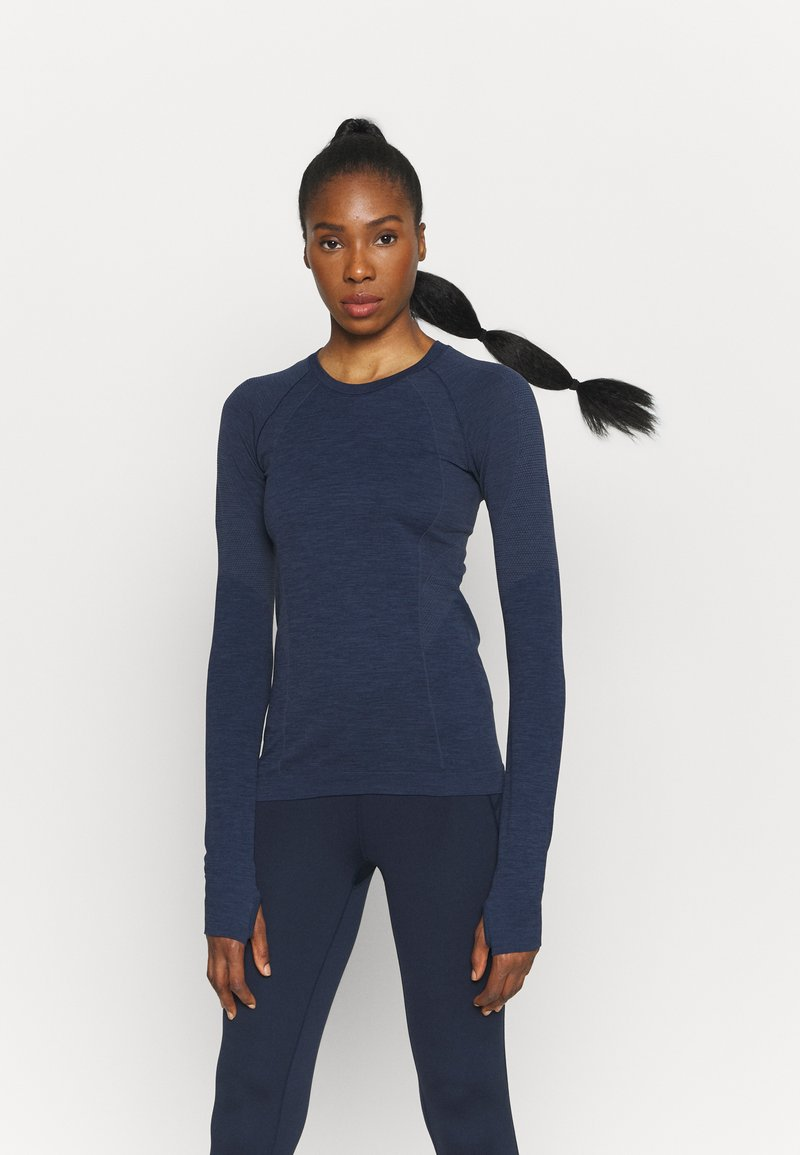Sweaty Betty - ATHLETE SEAMLESS WORKOUT - Long sleeved top - navy blue