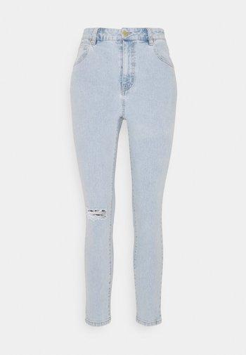 HIGH RISE CROPPED - Skinny džíny - addis blue rip