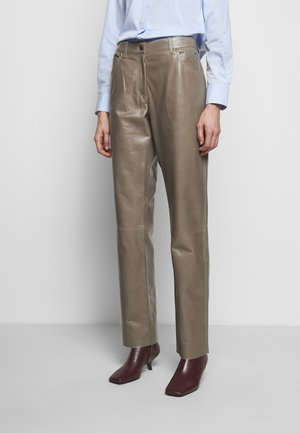 LEATHER TROUERS - Leather trousers - dove