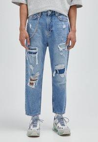 PULL&BEAR - Jeans relaxed fit - mottled dark blue - 0