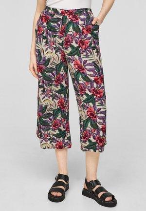 Trousers - beige floral aop