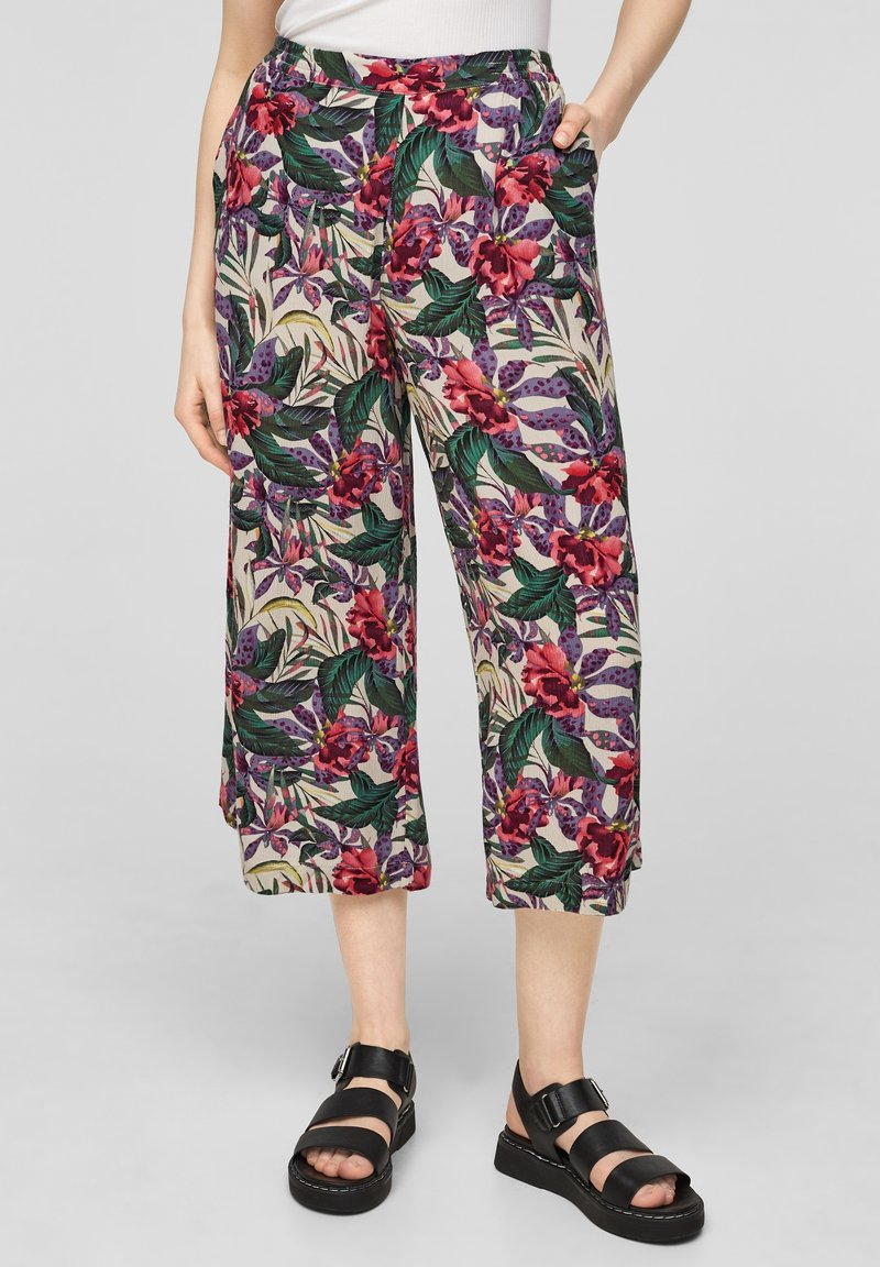 QS by s.Oliver - Trousers - beige floral aop