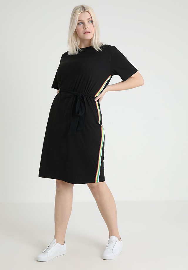LADIES MULTICOLOR SIDE TAPED DRESS - Sukienka z dżerseju - black
