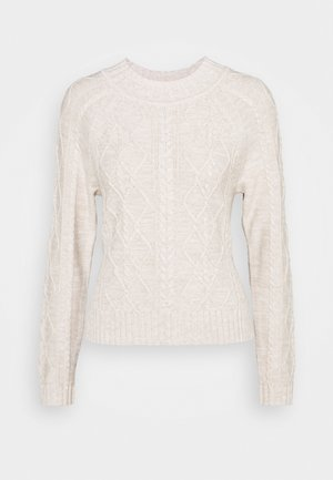 CABLE CREW - Strikkegenser - marled oatmeal heather