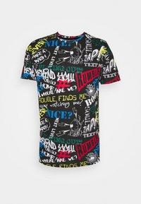 Brave Soul - SCRIBBLE - Print T-shirt - jet black/multi-colour - 0