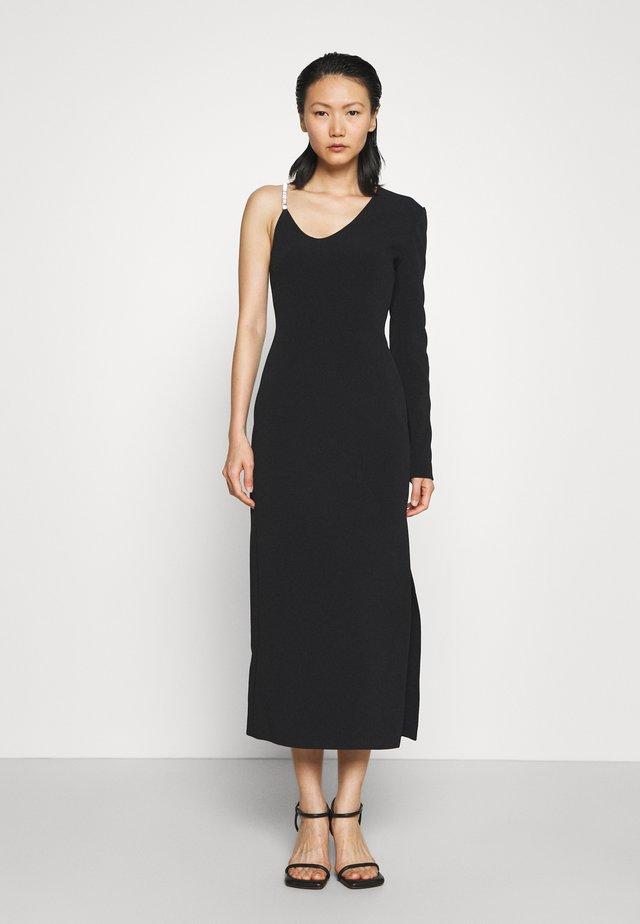 ASSYMETRIC NECK SLEEVE CRYSTAL STRAP MIDI DRESS - Vestito elegante - black