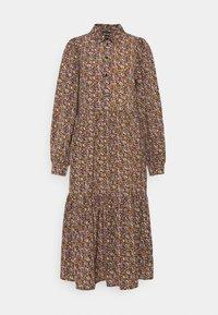 PIECES Tall - PCANJA MIDI DRESS - Shirt dress - black/brown/purple - 0
