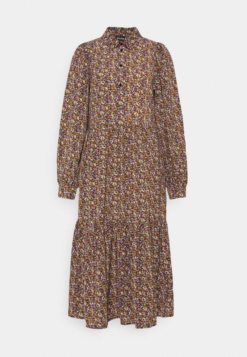 PIECES Tall - PCANJA MIDI DRESS - Shirt dress - black/brown/purple