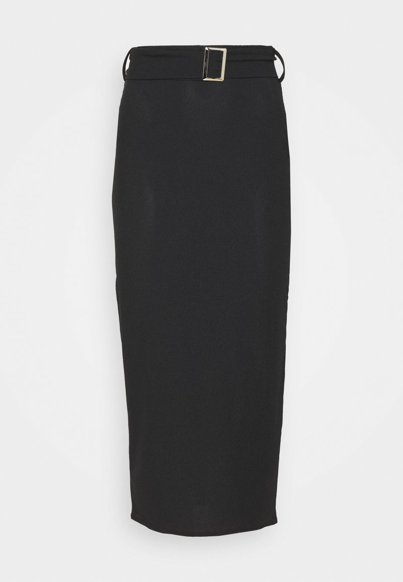 Missguided Tall - SELF BELTED MIDAXI SKIRT - Pencil skirt - black