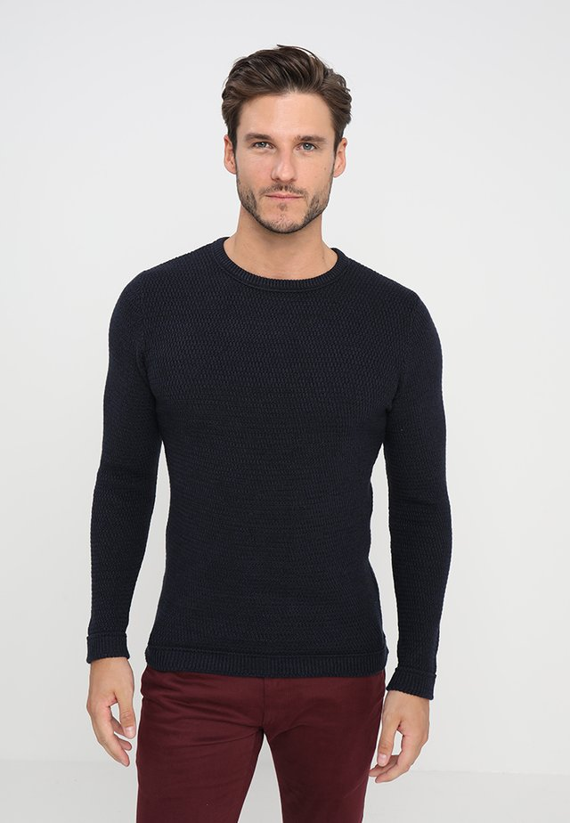 SLHVICTOR CREW NECK - Pullover - navy blazer/twisted black