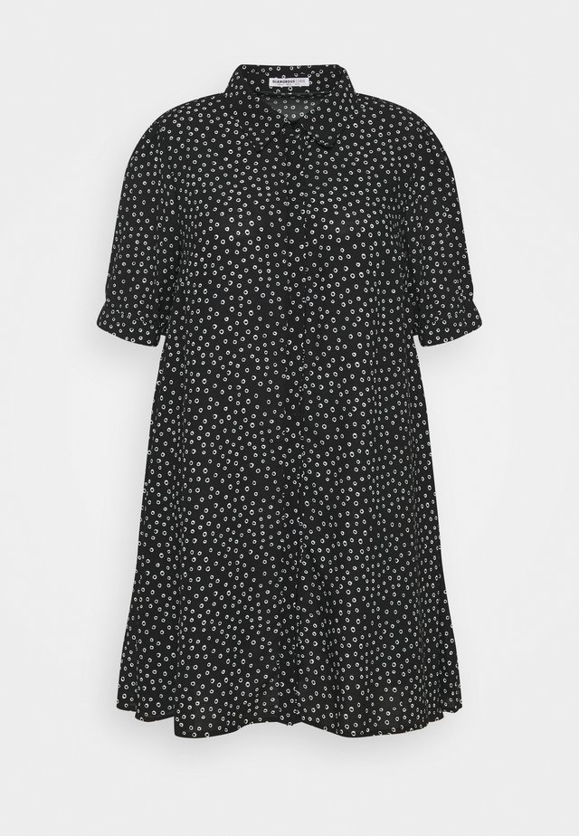 MINI DRESS WITH COLLAR - Shirt dress - black