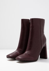 Topshop - HALIA SQUARE TOE - High heeled ankle boots - burgundy - 4