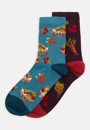 POLLY 2 PACK - Socks - bright turquoise/plum purple