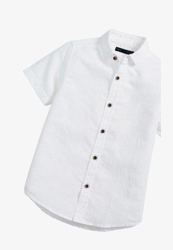 WHITE SHORT SLEEVE LINEN MIX SHIRT (3-16YRS) - Košile - white