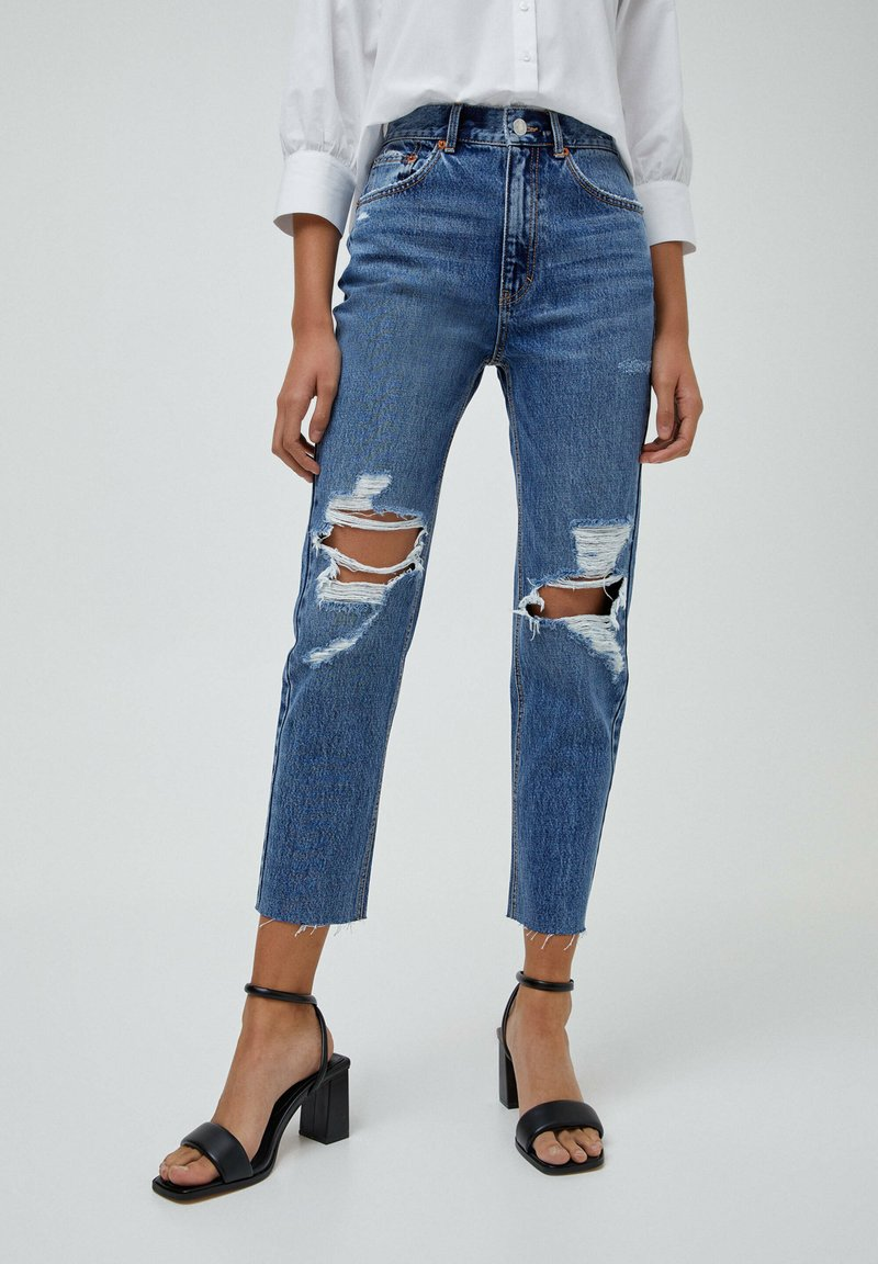 PULL&BEAR - MOM - Relaxed fit jeans - mottled blue