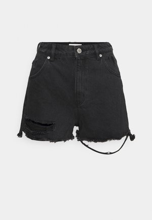 DUSTERS  - Denim shorts - black steel worn