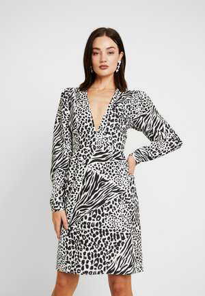 DEEP V NECK BALLOON SLEEVE DRESS - Cocktail dress / Party dress - black