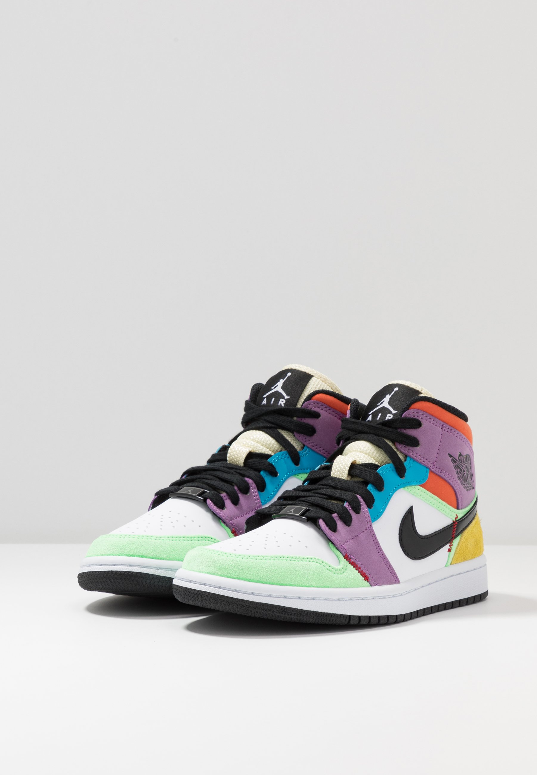 AIR 1 MID - Sneakers alte - white/black/lightbulb/team  orange/purple/illusion green