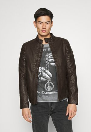 BIKER JACKET - Faux leather jacket - dark chocolate