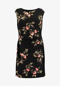 Lauren Ralph Lauren Woman - NOVELLINA CAP SLEEVE DAY DRESS - Jersey dress - black/pink/multi - 7